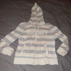 Guess grey & white striped bling zip up sweater